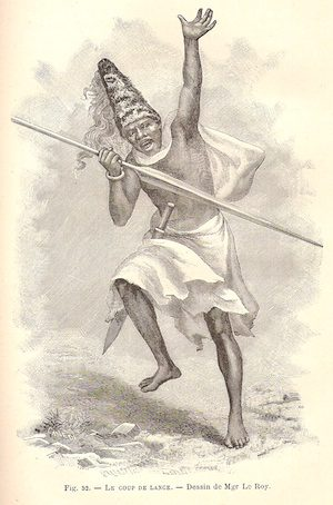 A Chagga warrior with fearsome spear in his right hand and a tall conical hat, drawn by Mgr LeRoy
