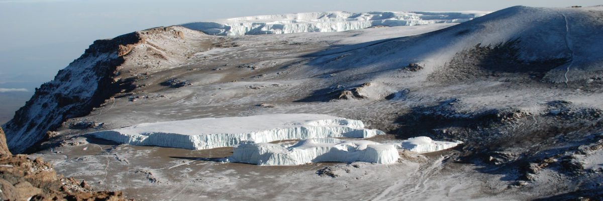 View of the Furtwangler Glacier that sits on the crater floor of Kilimanjaro's main Kibo summit